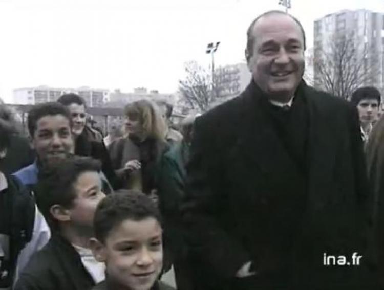 Jacques Chirac, lors d'une visite à Villeurbanne en 1994, lors de sa campagne présidentielle (archives INA).