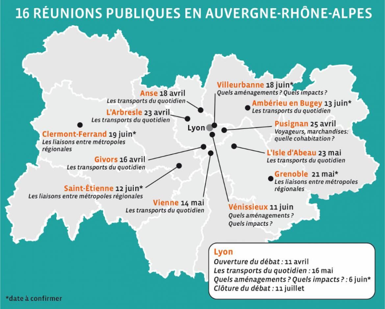 Le calendrier des réunions du grand débat sur l'avenir du nœud ferroviaire lyonnais.