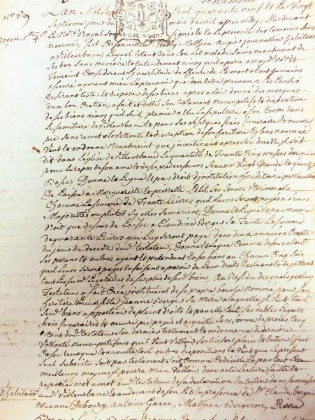 Testament villeurbannais - 1749 (archives du Rize)