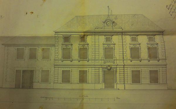 Projet de rénovation de la mairie, place Grandclément à la fin du XIXe siècle. (© DR)