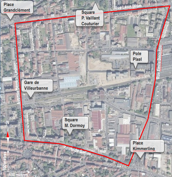 Périmètre du projet de la ZAC Grandclément Gare