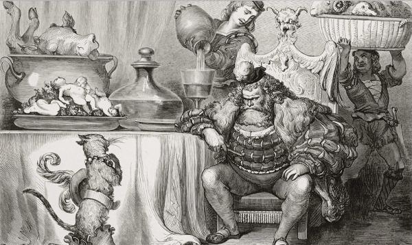 « L'Ogre le reçut aussi civilement que le peut un ogre. » Le Maitre Chat ou Le Chat botté. Dessin de Gustave Doré, gravure sur bois d'Adolphe Pannemaker.