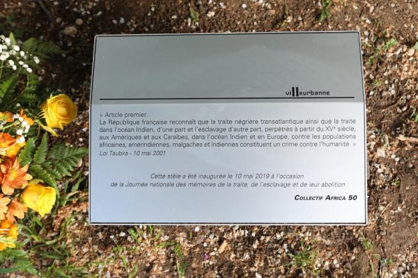 Une plaque célébrant l'abolition de l'esclavage dévoilée dans le parc des Droits de l'Homme